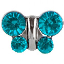 STUDEX Stainless Steel December Blue Zircon Butterfly EARRINGS