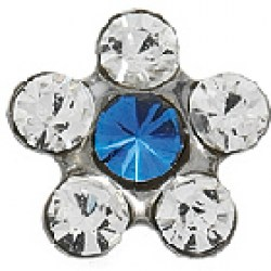 STUDEX Stainless Steel Daisy Crystal Sapphire EARRINGS