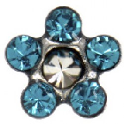 STUDEX Stainless Steel Daisy Blue Zircon Crysta EARRINGS