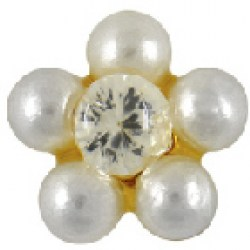 STUDEX Gold Plated Daisy White Pearl CZ EARRINGS