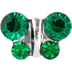 STUDEX Stainless Steel May Emerald Butterfly EARRINGS