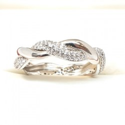 Sterling Silver Double Helix Shaped Ring with Cubic Zirconia Stones